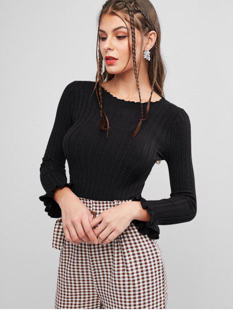 shop Ribbed Lettuce Ruffle Cuff Slim Sweater - BLACK ONE SIZE Mobile