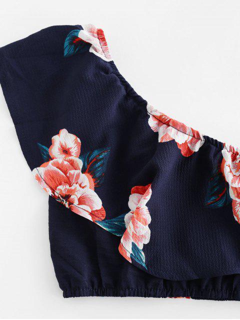 Rüschen Blumen Einziger Schulter Zweiteiliges Set - Mitternacht Blau L Mobile