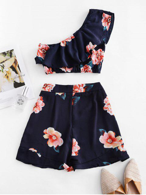 fashion Ruffles Floral One Shoulder Two Piece Set - MIDNIGHT BLUE S Mobile