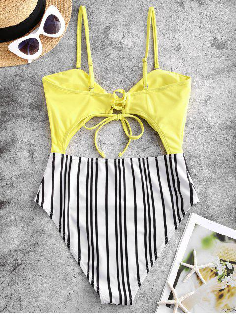 fancy ZAFUL Twist Cutout Striped Lace Up One-piece Swimsuit - YELLOW S Mobile