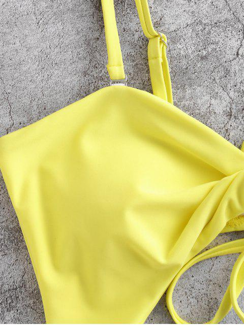 affordable ZAFUL Twist Cutout Striped Lace Up One-piece Swimsuit - YELLOW XL Mobile