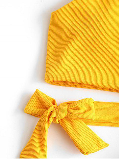 latest ZAFUL One Shoulder Knot Ribbed Bikini Top - BRIGHT YELLOW S Mobile