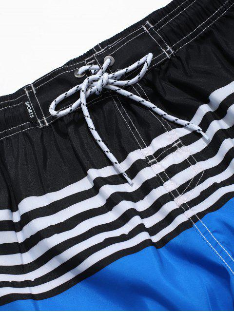 latest Color Spliced Striped Print Casual Shorts - BLUE 3XL Mobile