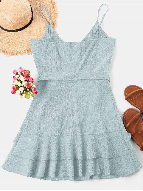 fashion Ruffle Mini Cami Dress - POWDER BLUE L Mobile