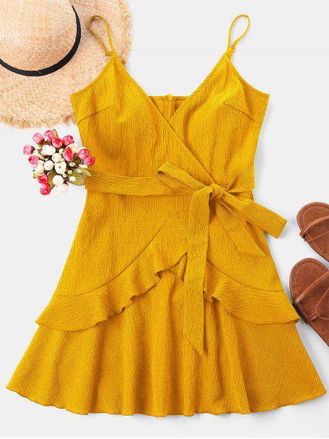 chic Ruffle Mini Cami Dress - YELLOW L Mobile