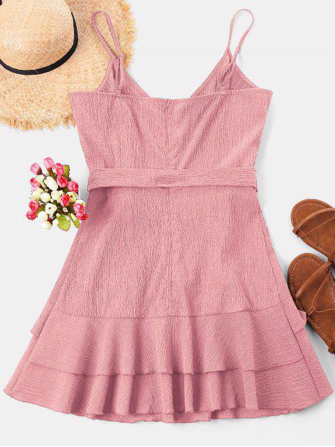 women Ruffle Mini Cami Dress - PINK M Mobile