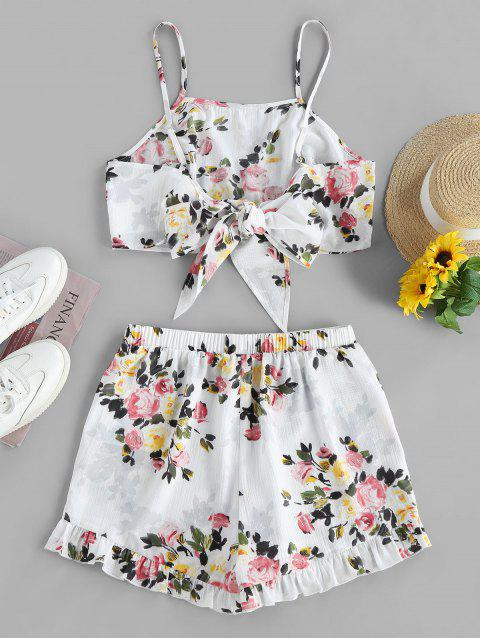 womens ZAFUL Flower Knotted Ruffled Two Piece Shorts Set - WHITE S Mobile