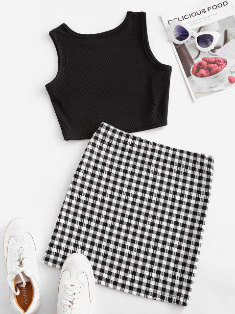 women Checked Sleeveless Crop Two Piece Suit - BLACK S Mobile