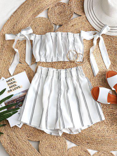 ZAFUL Striped Ruffle Bowknot Off Shoulder Shorts Set - White L
