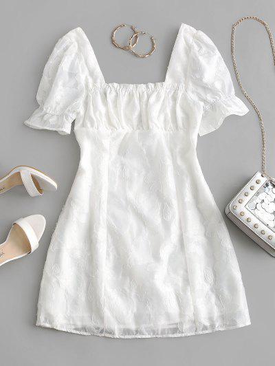 Back Zipper Floral Mini Milkmaid Dress - White S