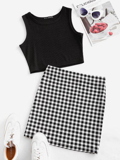 Checked Sleeveless Crop Two Piece Suit - Black S