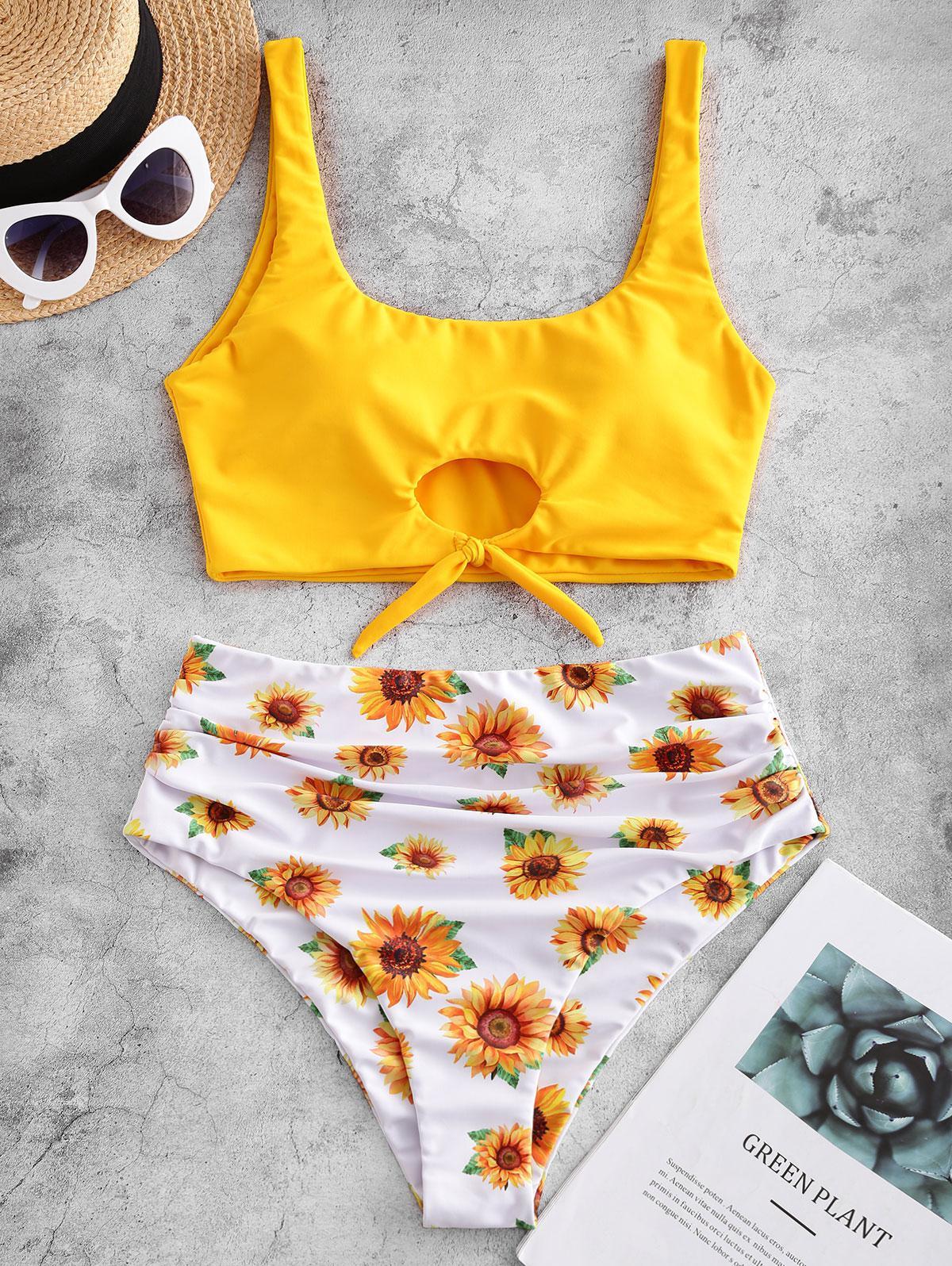 ZAFUL Sunflower High Cut Ruched Knot Tankini Swimsuit фото