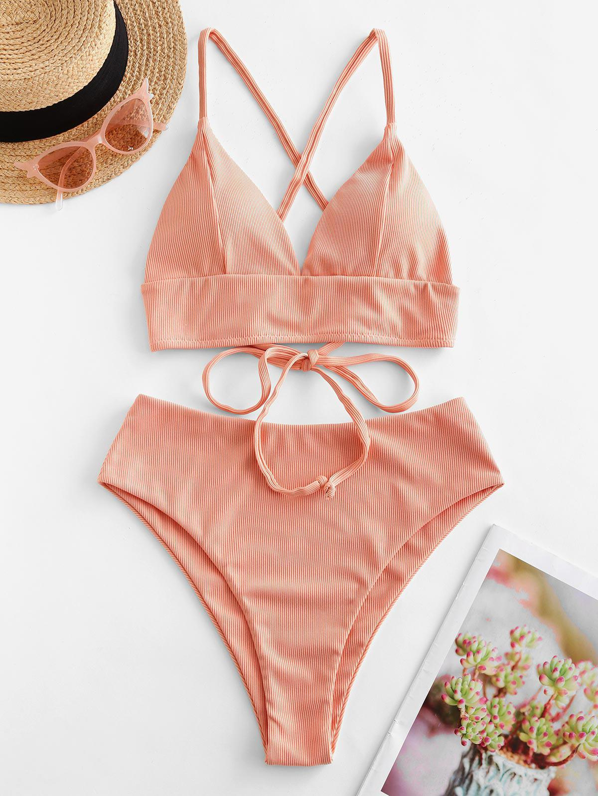 ZAFUL Ribbed Cross Lace Up High Cut Tankini Swimsuit