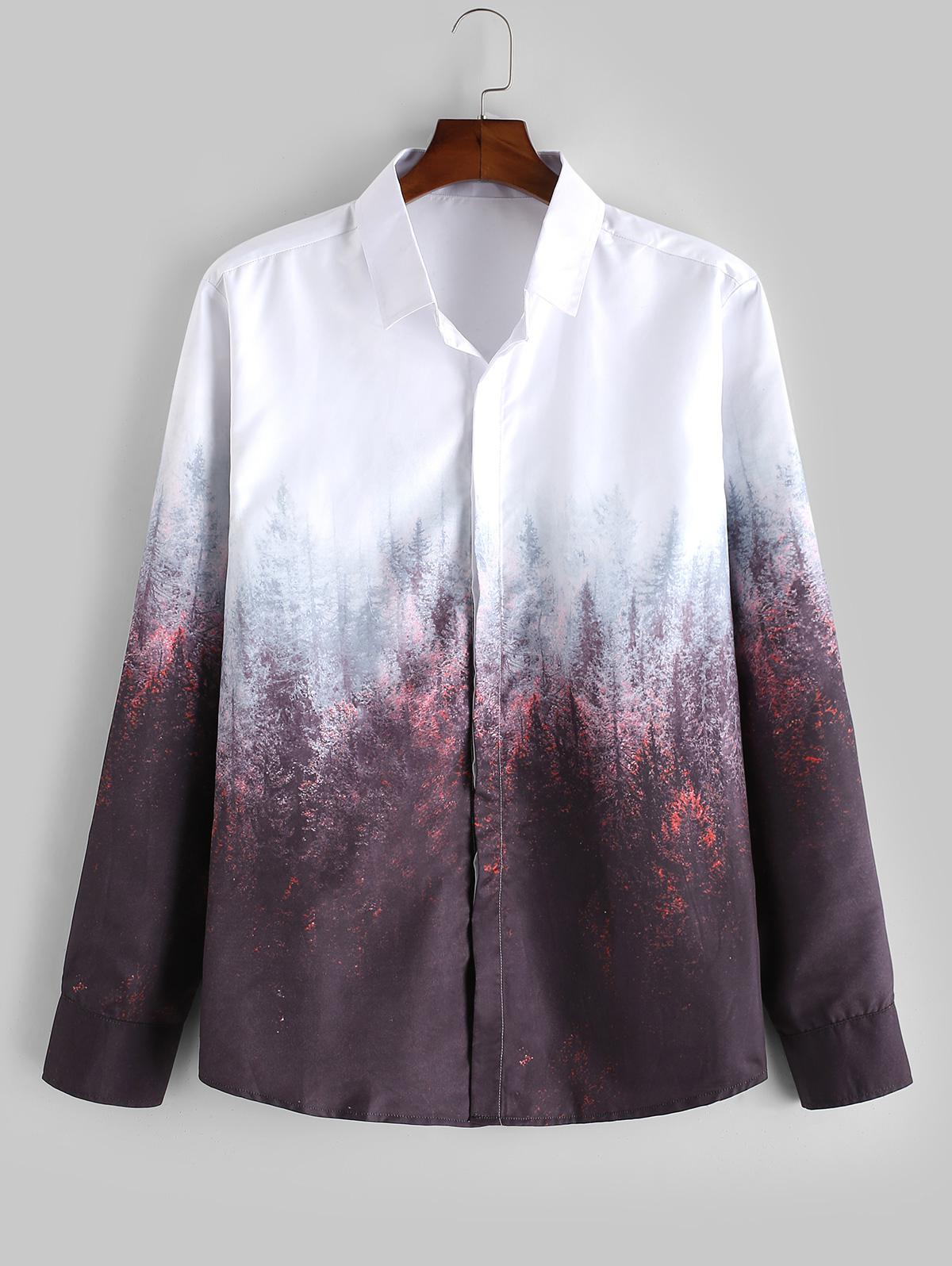 Forest Print Gradient Long Sleeve Shirt фото