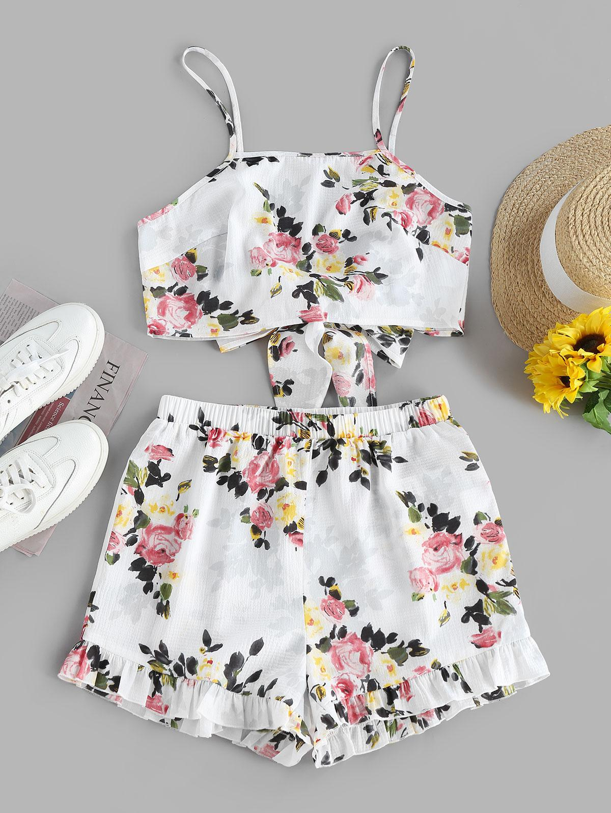 ZAFUL Flower Knotted Ruffled Two Piece Shorts Set