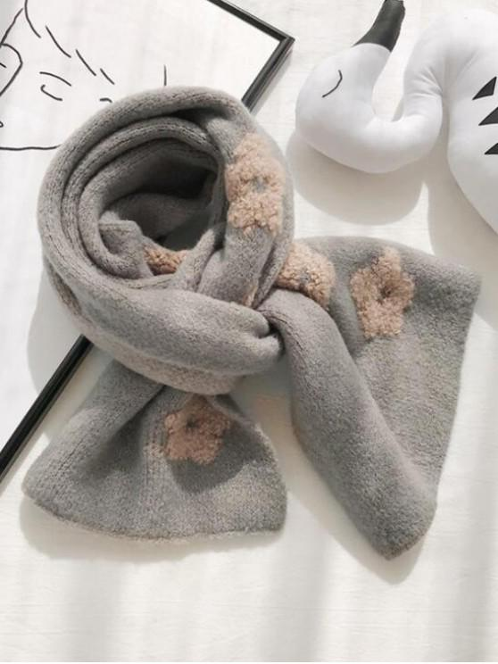 ladies Flower Pattern Knitted Neck Scarf - LIGHT GRAY