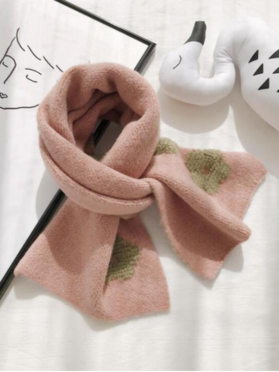 outfit Flower Pattern Knitted Neck Scarf - PINK
