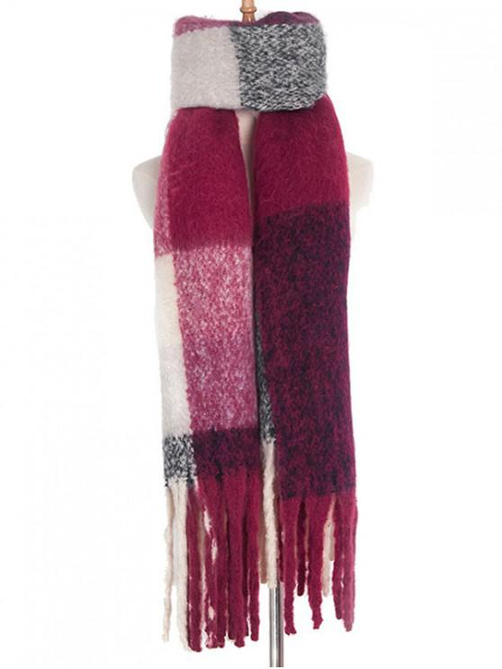 fashion Checkered Spliced Fringe Wrap Scarf - RED WINE