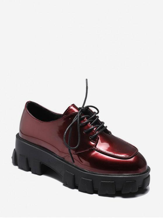 affordable Plain Lace Up Leather Platform Shoes - RED WINE EU 35