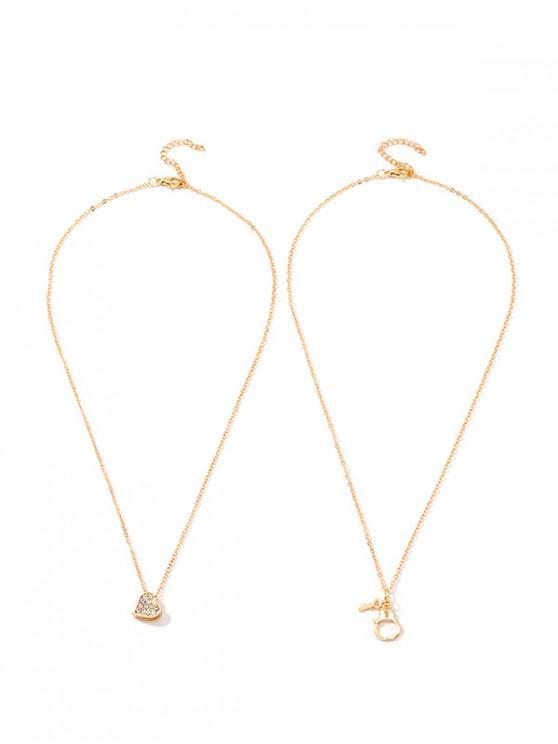 2pcs llave del corazón del collar de la esposas - Oro
