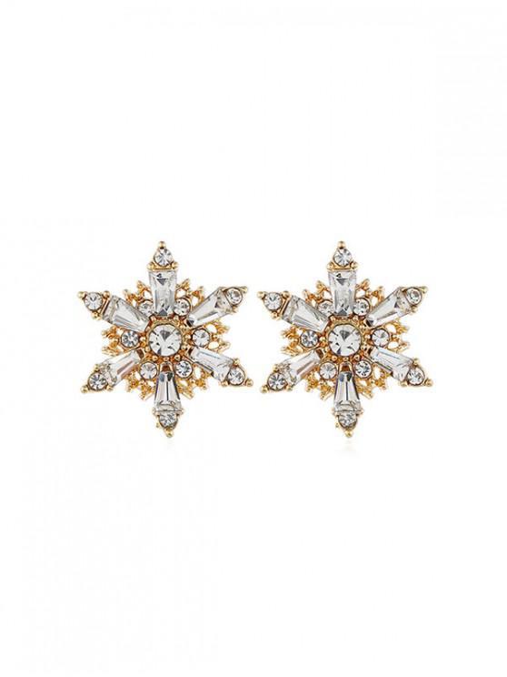 Pendientes Huecos de Copo de Nieve de Diamantes de Imitación - Oro