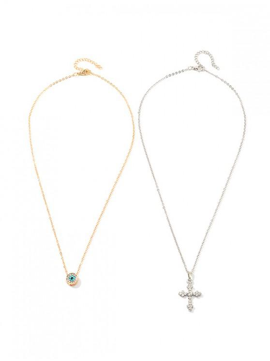 unique 2Pcs Cross Round Rhinestone Necklace Set - GOLD