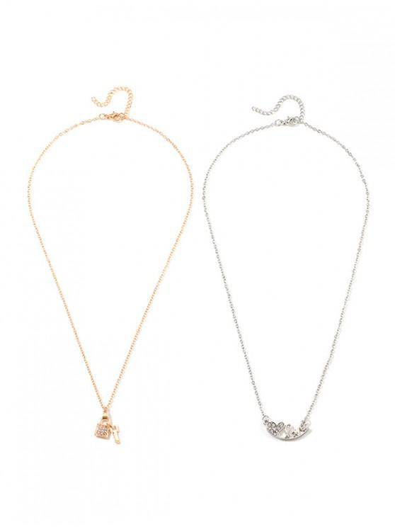 outfit 2Pcs Heart Letter Lock Key Necklace Set - GOLD