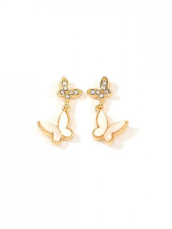 best Butterfly Design Rhinestone Stud Drop Earrings - GOLD