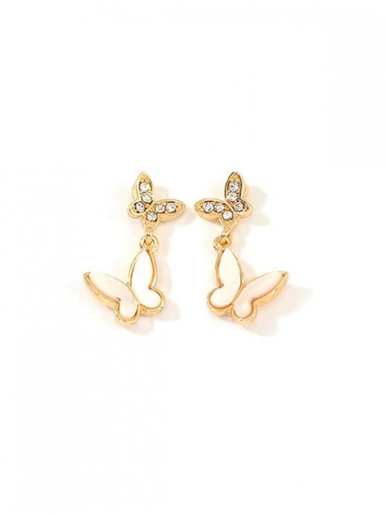 Pendientes de Gota con Diseño de Mariposa de Diamantes de Imitación - Oro