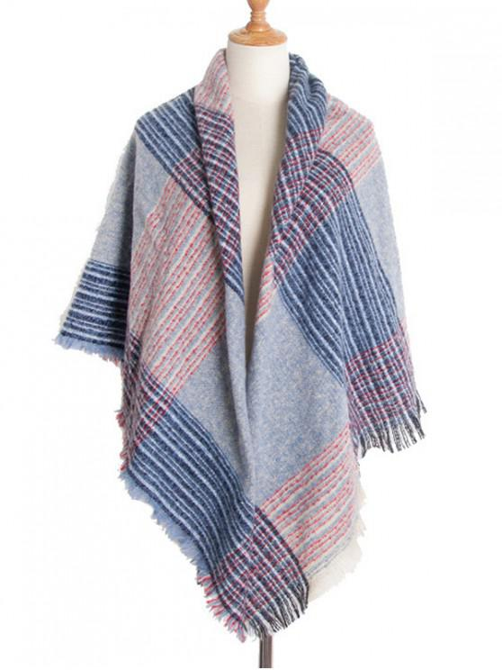 women's Square Plaid Fringed Wrap Scarf - LIVING CORAL