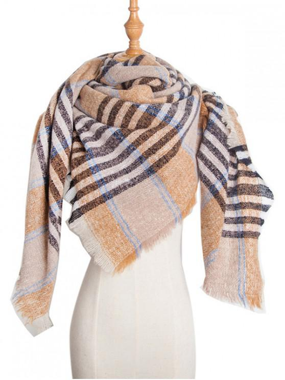 online Square Plaid Fringed Wrap Scarf - CAMEL BROWN