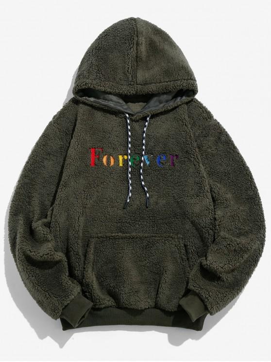 best ZAFUL Casual Letter Embroidery Fluffy Hoodie - ARMY GREEN S