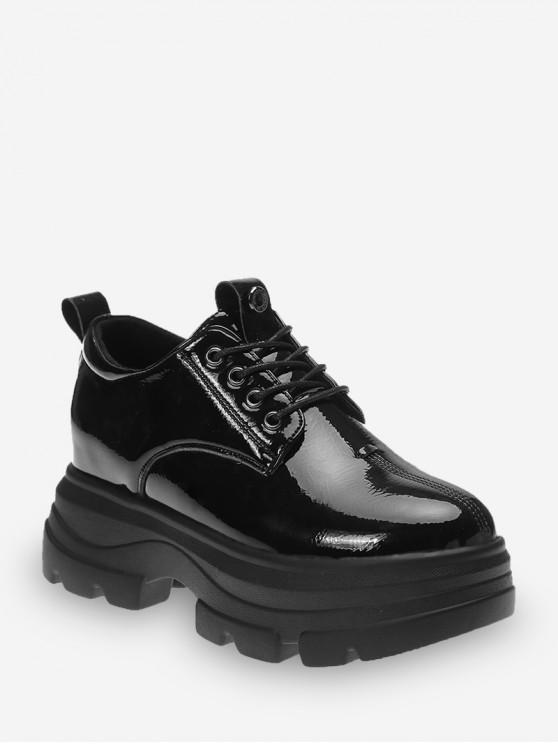 سوبر منصة عالية الرباط حتى أحذية جلدية - أسود الاتحاد الأوروبي 38