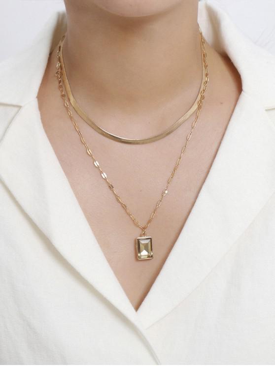 فو الماس الأفعى سلسلة قلادة طبقة مزدوجة - ذهب