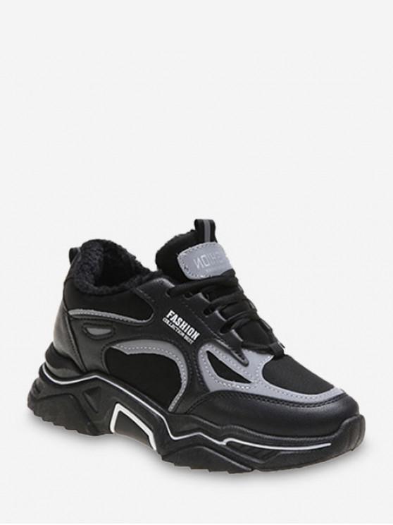 lady Breathable Mesh Color-blocking Dad Sneakers - BLACK EU 39