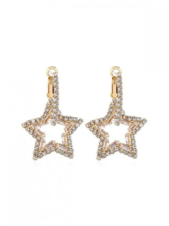 affordable Rhinestone Star Hoop Earrings - WHITE