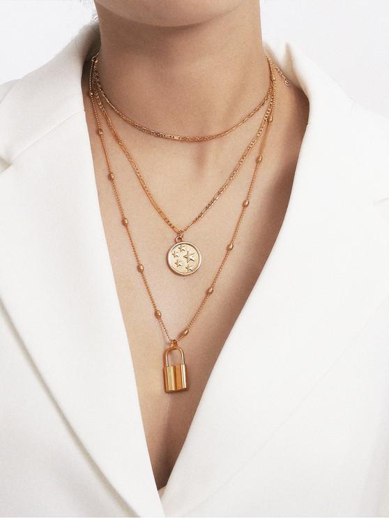hot Pentagram Lock Multilayered Chain Necklace - GOLD