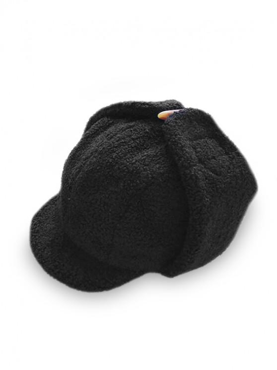 shops Casual Solid Color Fluffy Trapper Hat - BLACK