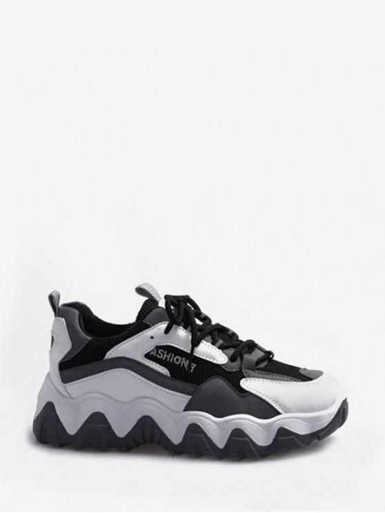 Zapatos Deportivos Color Bloque Zig-Zag - Gris EU 36