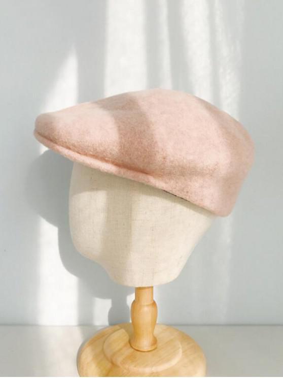 fancy Winter Solid Wool Flat Cap - PINK