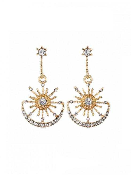 women's Hollow Star And Moon Drop Earrings - GOLD