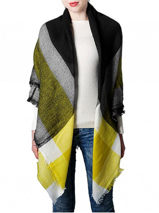 outfit Contrast Checkered Fringe Square Wrap Scarf - YELLOW
