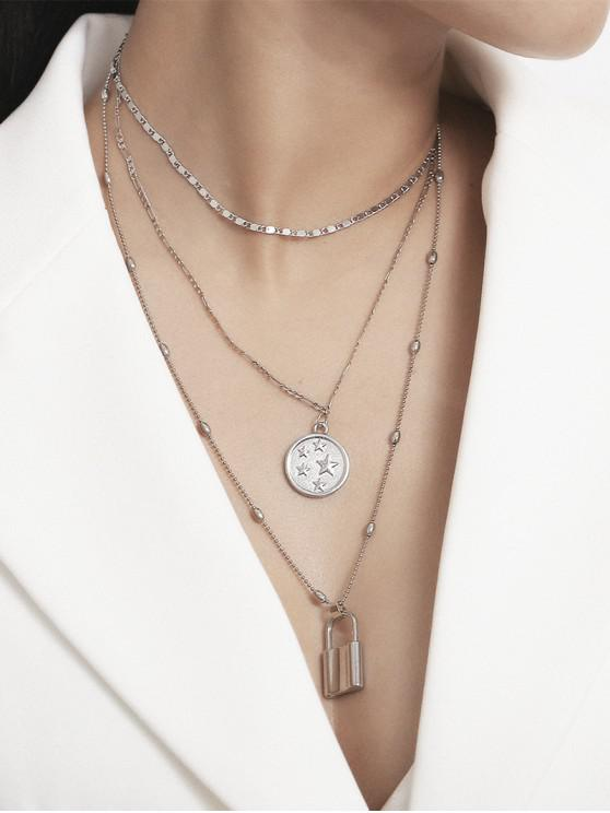 hot Pentagram Lock Multilayered Chain Necklace - SILVER