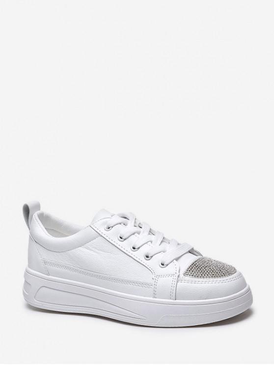 new Rhinestone Toe Flat Skate Shoes - WHITE EU 36