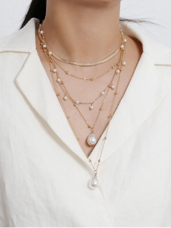 sale Multi-layer Faux Pearl Snake Chain Necklace - GOLD