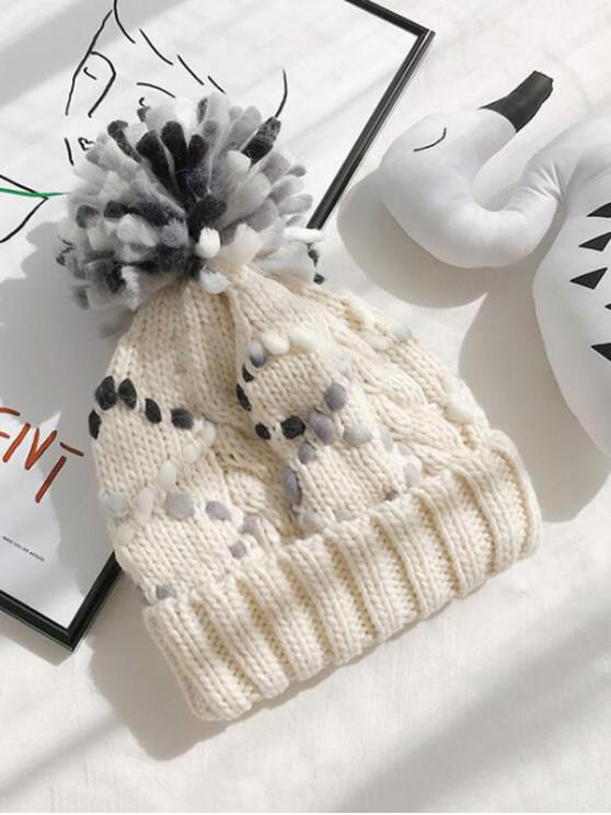 lady Color-blocking Knitted Bobble Hat - BEIGE