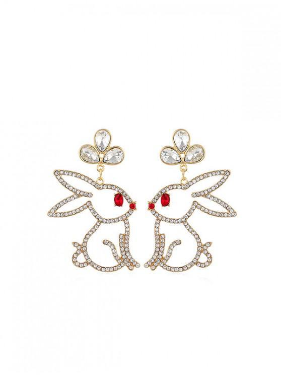 shops Hollow Out Rhinestone Rabbit Drop Earrings - GOLD
