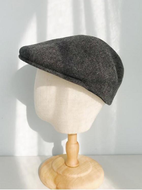 womens Winter Solid Wool Flat Cap - DARK GRAY