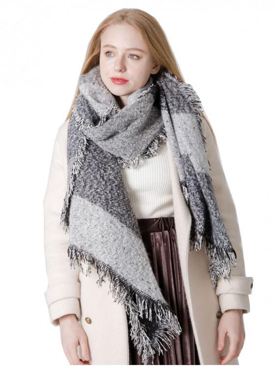 online Winter Big Plaid Fringed Long Scarf - GRAY CLOUD
