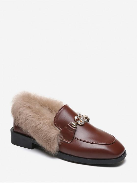 模糊領水鑽方頭鞋皮鞋 - 紅酒 歐盟35
